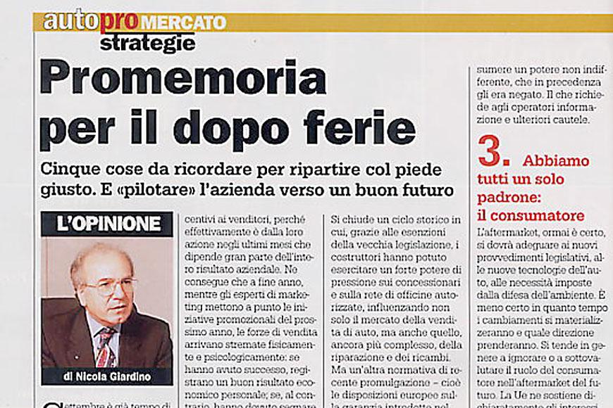 LE OFFICINE TRANI SU AUTO PRO DI SETTEMBRE 2003